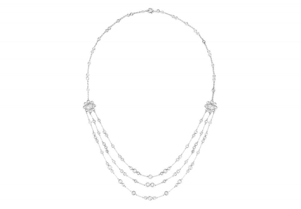4.72Cts Brilliant Diamond Spectacle Set Necklace In 18K White Gold