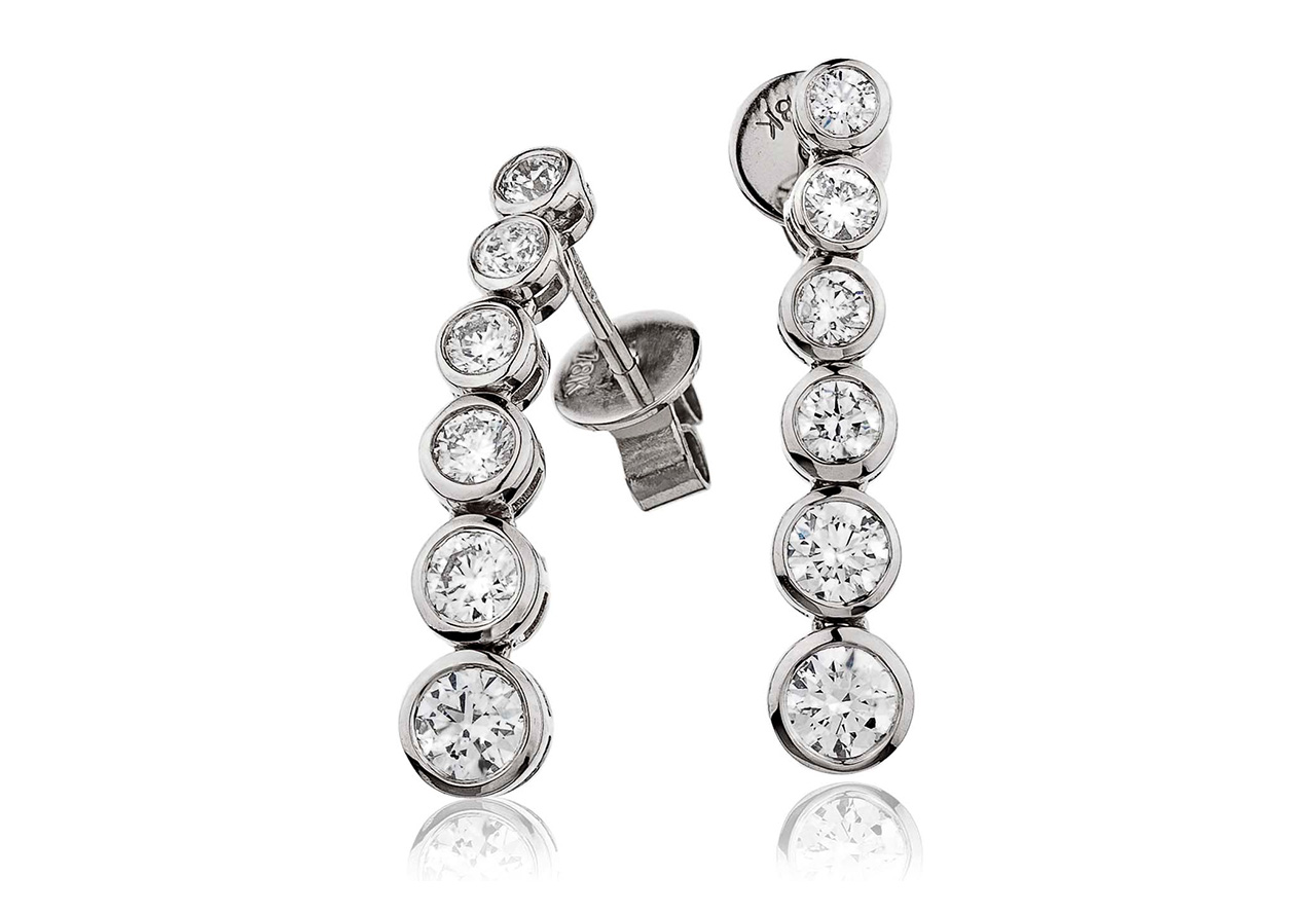 Six Stone Drop Earrings with Diamonds in 18K White Gold