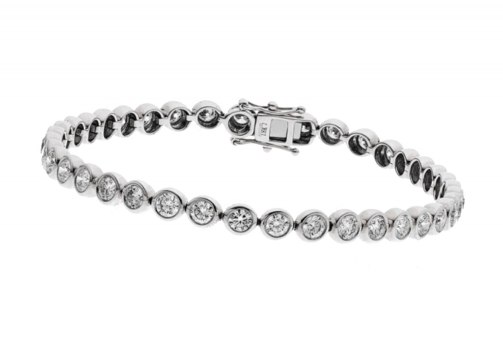 1.00Ct Rub Over Set Tennis Bracelet with Diamonds in 9K White Gold