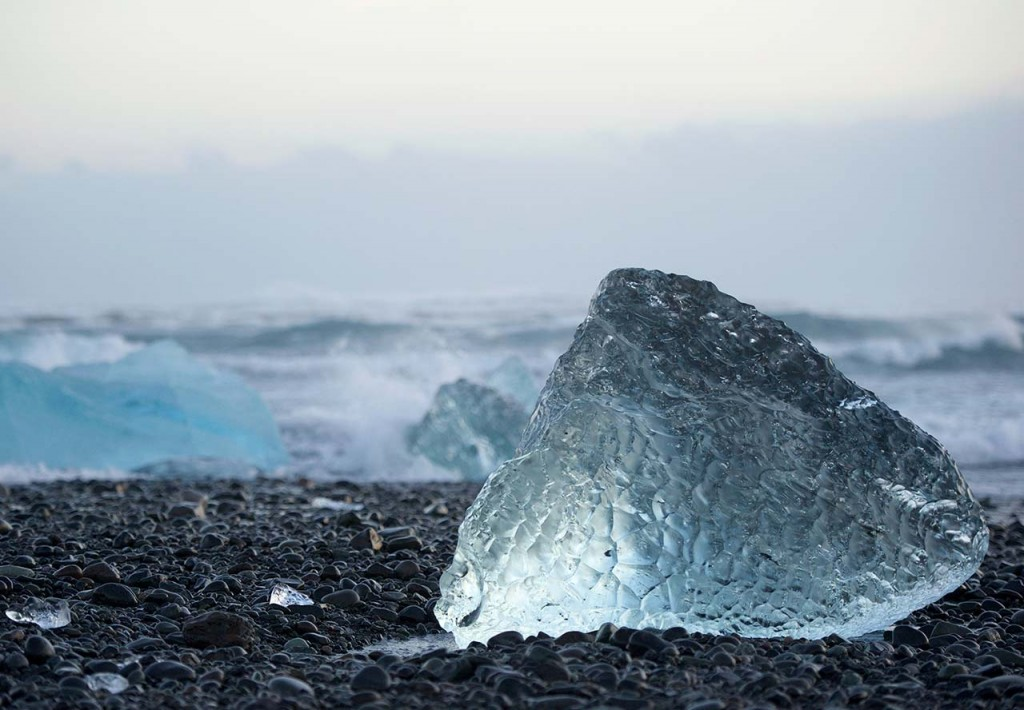 Jökulsárlón Glacier Lagoon is also known as the 'Diamond Beach' on Iceland's South coast, for its ice that washes up on its volcanic sand beaches.