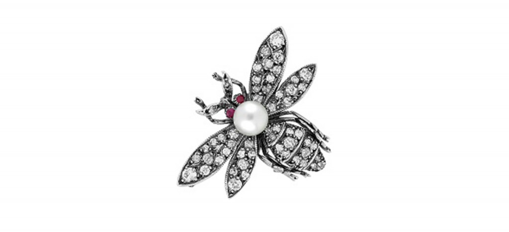 Bumble-Bee-Diamond,-Pearl-&-Ruby-Brooch-Set-in-Silver-Diamond-Rocks