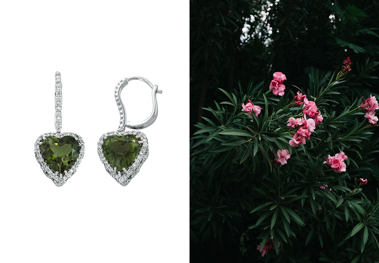 green tourmaline earrings from Diamond Rocks