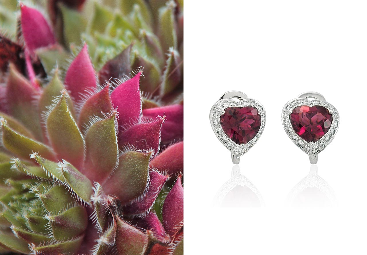 Pink tourmaline heart earrings from Diamond Rocks