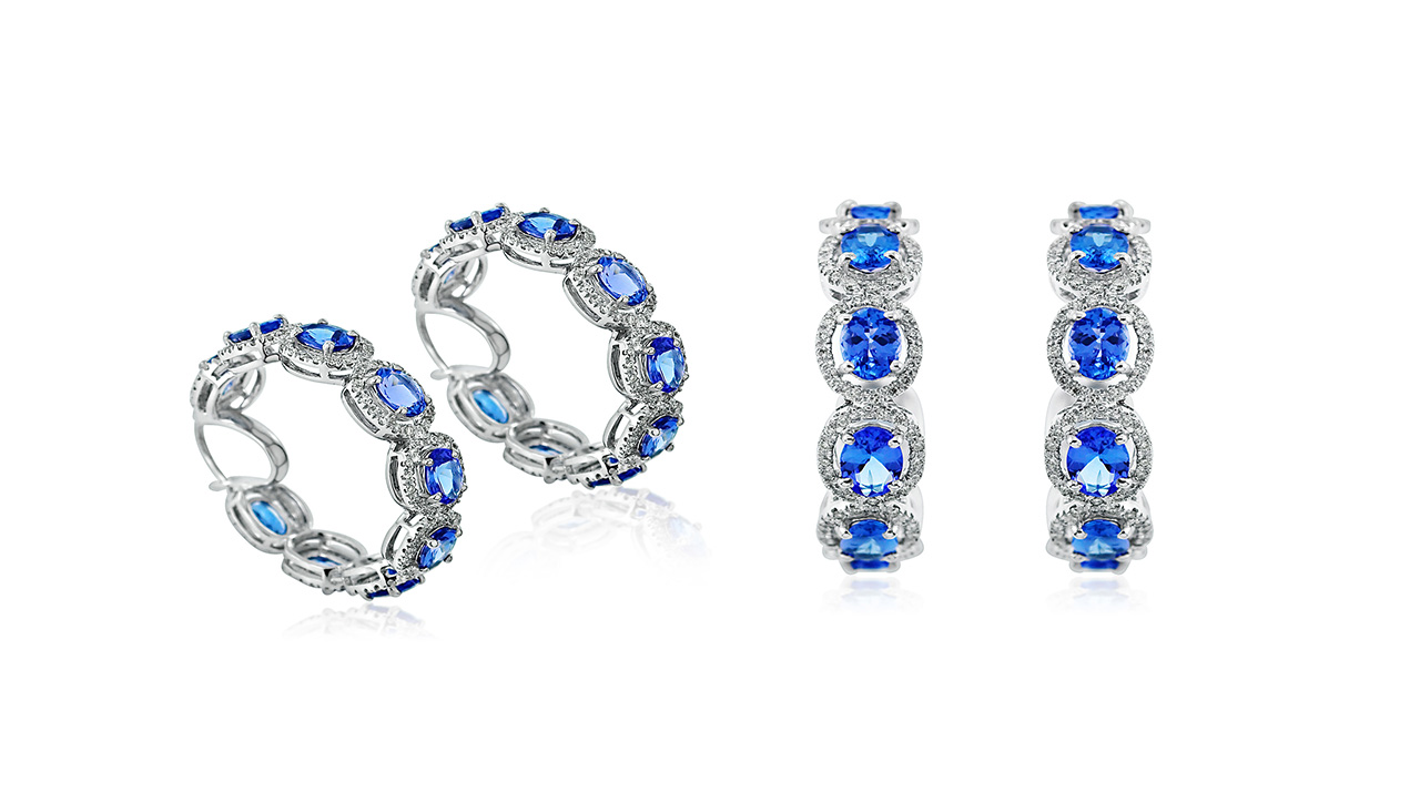 Tanzanite Oval 1.27Cts Brilliant Diamond Hoop Earrings In 18K White Gold