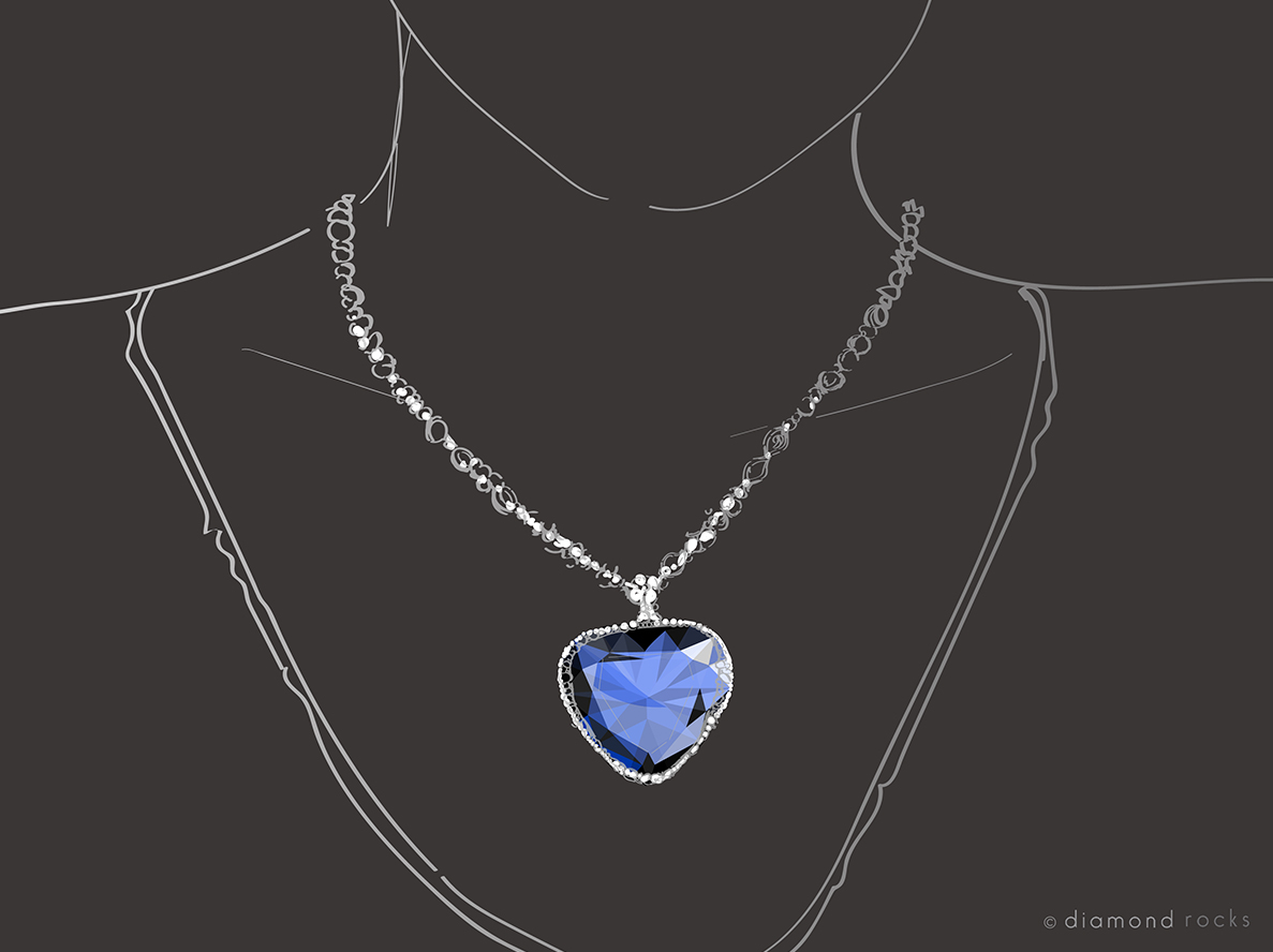 The fictional 'Heart of the Ocean' necklace is a heart-shaped bright blue sapphire surrounded by diamonds on a diamond chain
