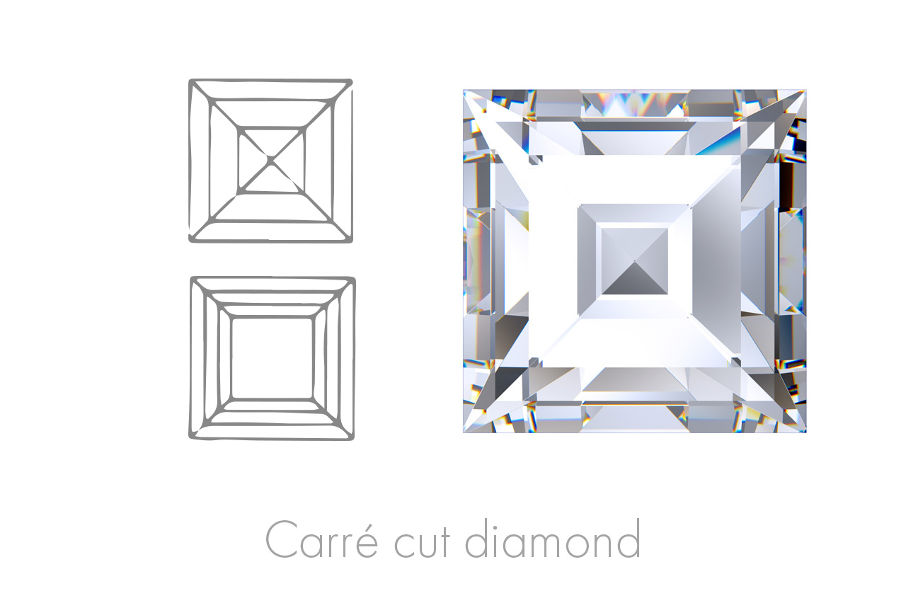 The Carré cut, originally developed to make maximum use of the rough stone, is a square-shaped stone with 90֯ corners and a large upper facet.