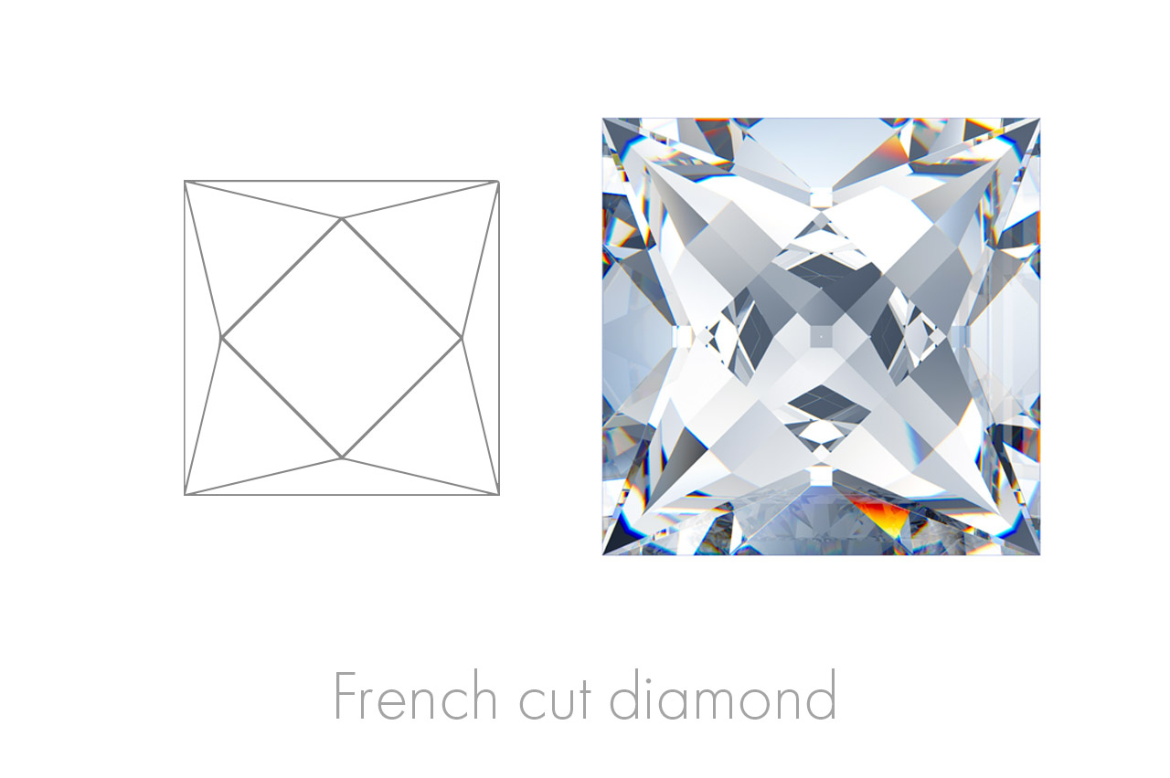 French Cut diamonds are square or rectangular multifaceted gems, recognisable by the typical cross the crown facets depict.