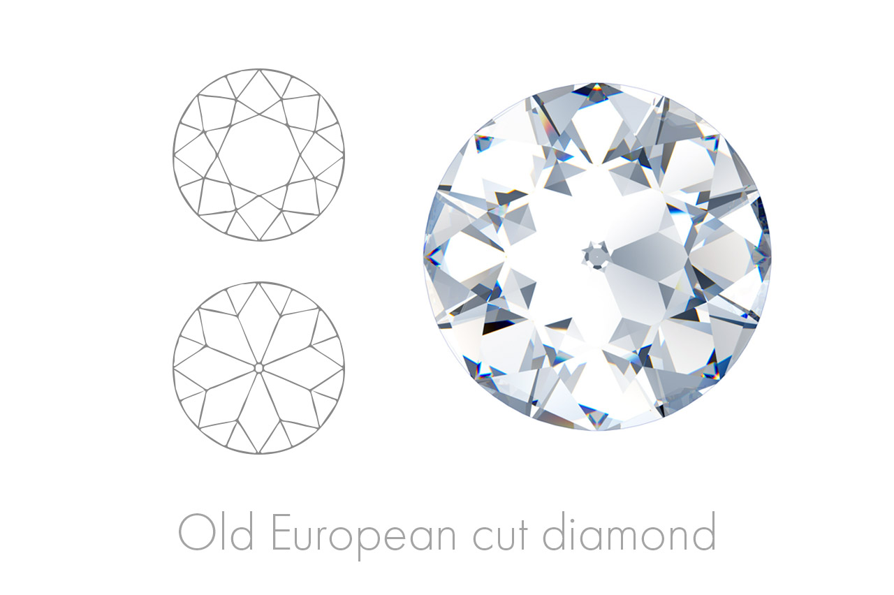 The Old European Cut Diamond features a rounded table and larger, triangular facets, akin to those of the modern brilliant cut.