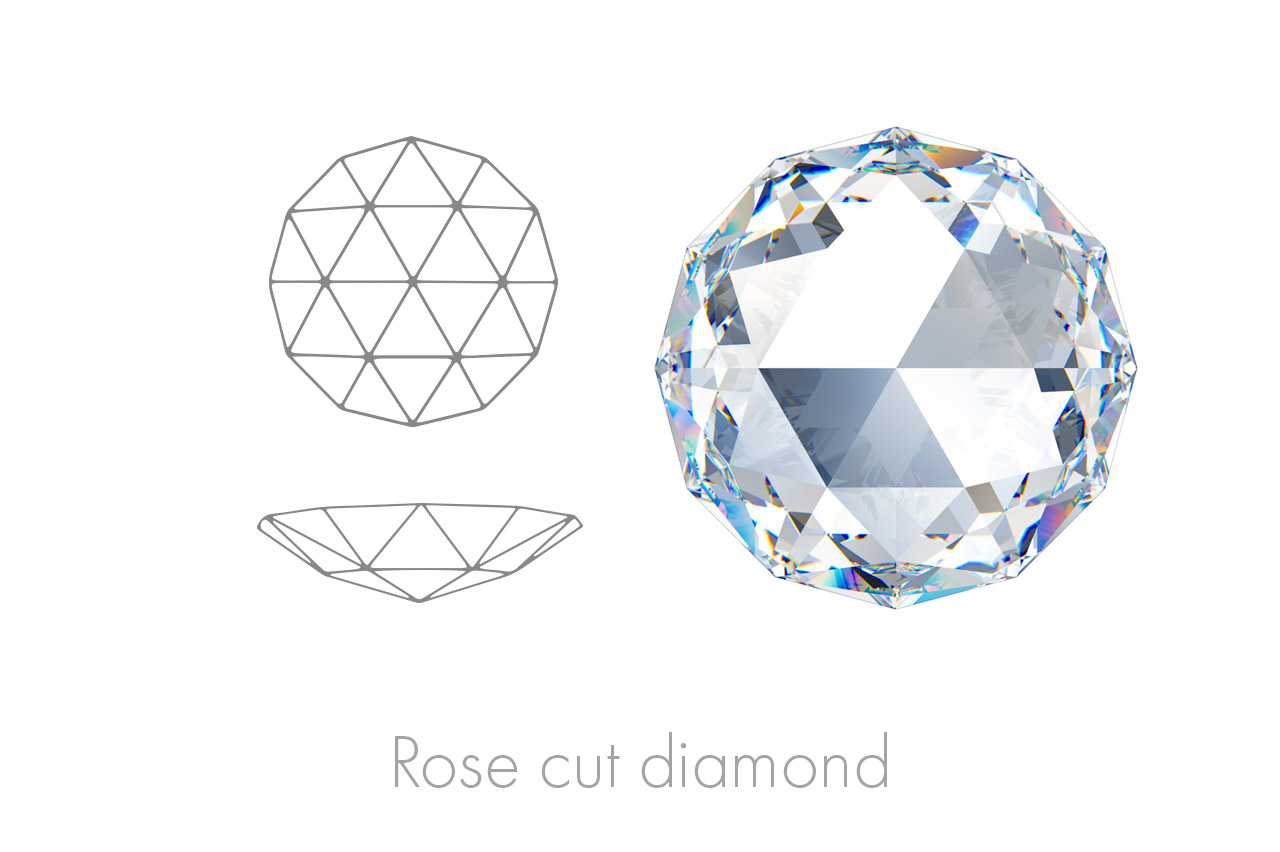 notable for its simplistic faceting, flat back and domed tops covered in triangular facets that mimic the inner spiral of a rose.