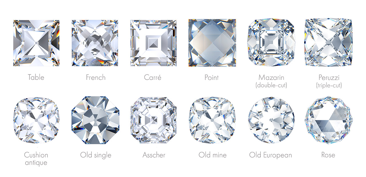 Various old and antique diamond cuts