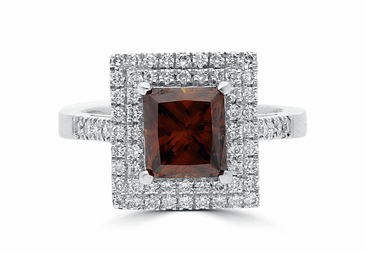 2.64Ct Fancy Dark Orangy Brown Princess & White Round Brilliant Cut Diamond Double Cluster Ring in 18K White Gold