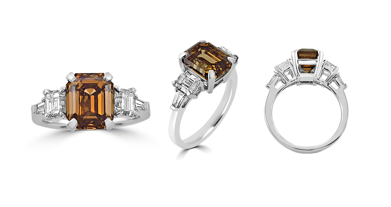 5.52Ct Fancy Deep Yellow Brown Emerald Cut Diamond With White Emerald Cut Diamond & Baguette Cut Diamonds Step Ring In Platinum